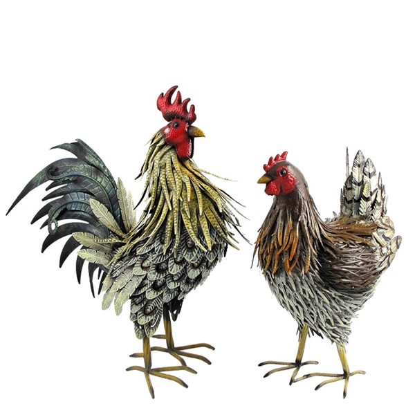 Hen and Rooster Family (Set of 2)