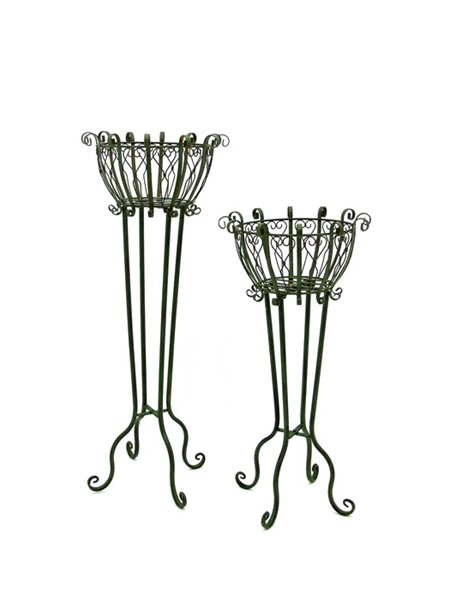 Set of 2 Tall Iron Basket Plant Stands in Antique Green