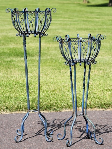 Set of 2 Tall Iron Basket Plant Stands in Antique Blue