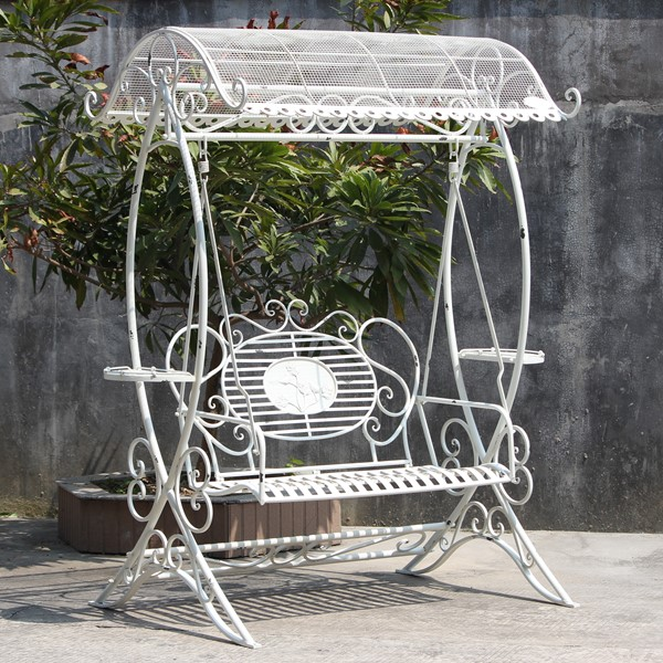 Electroplated Garden Swing Bench with Antique White Finish