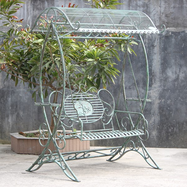Electroplated Garden Swing Bench with Verdi Green Finish