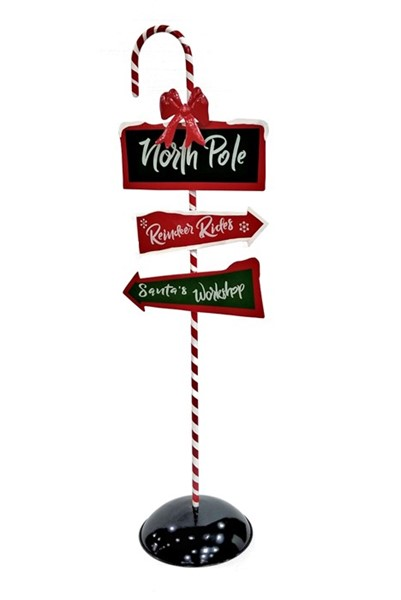 "Standing Iron ""North Pole"" Sign with Candy Cane Post"