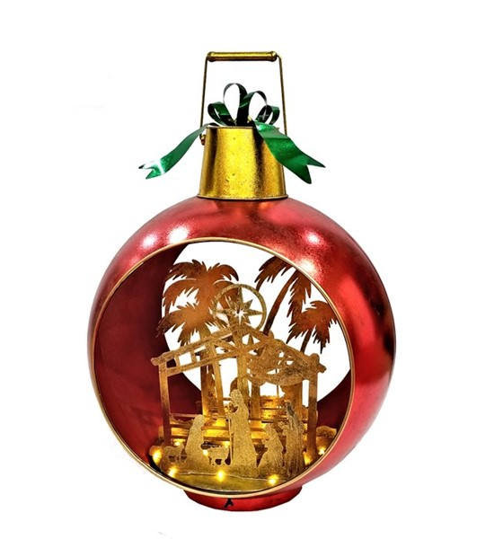 Large Red Iron Christmas Ornament with Nativity Scene & LED Lights