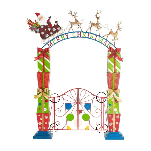 Iron Christmas Garden Gate with Santa, Sleigh, Reindeer, & LED Lights