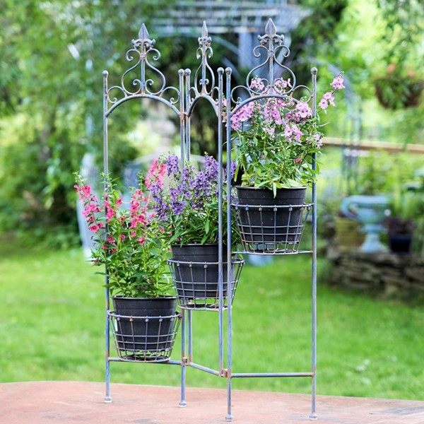 "Metal Folding Plant Stand With Baskets ""Stephania"" in Antique Blue"