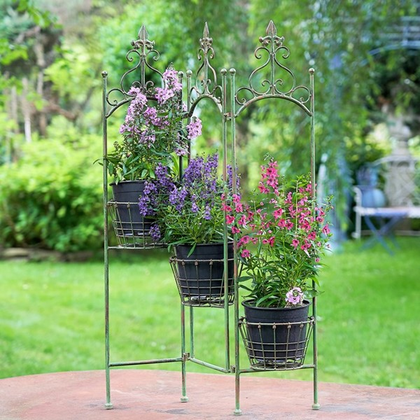 "Metal Folding Plant Stand With Baskets ""Stephania"" in Antique Green"