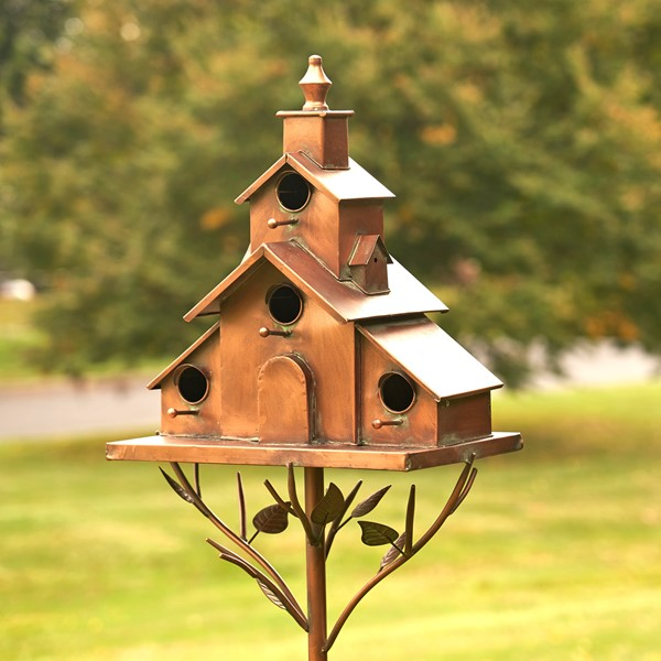 "Church Style Iron Birdhouse Stake ""Dublin"""