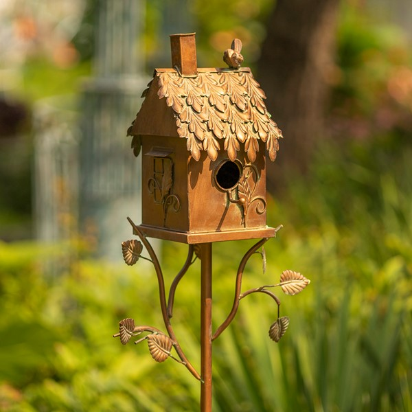 "Country Style Iron Birdhouse Stake ""Chimney House"""