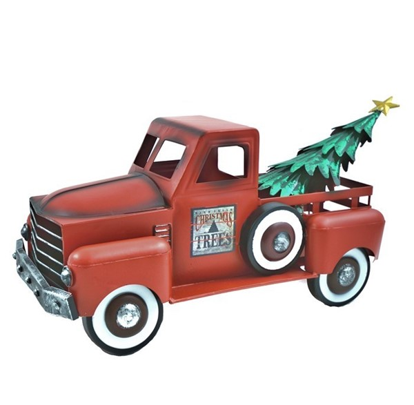 Small Red Truck with Christmas Tree - Matte