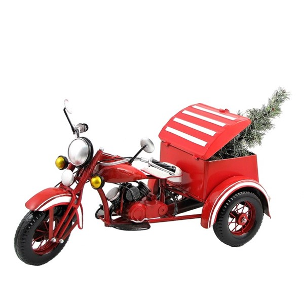 Small Red Motor Trike with Christmas Tree