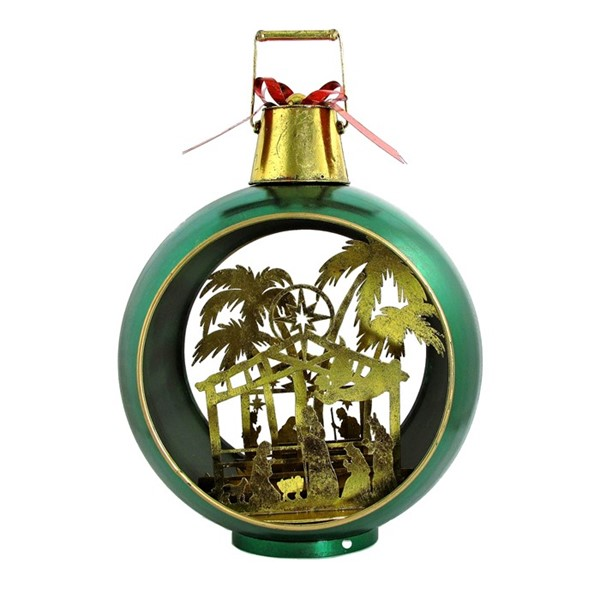 Large Green Iron Christmas Ornament with Nativity Scene & LED Lights