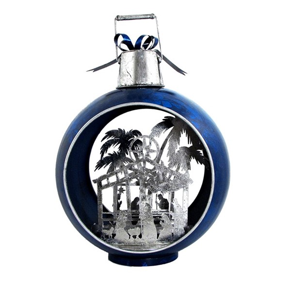 Large Blue Iron Christmas Ornament with Nativity Scene & LED Lights