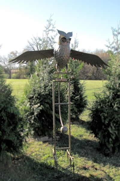"Large Solar Metal Flying Owl ""Weston"" Rocking Stake"