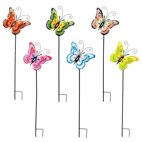 Set of 6 Iron Butterfly Garden Stakes in 6 Assorted Colors