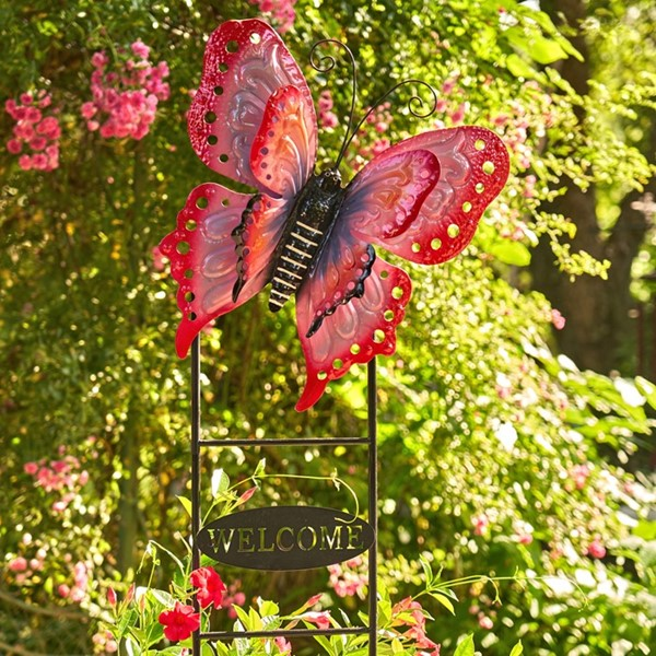 "Large Butterfly ""Welcome"" Garden Stake in Red and Pink"
