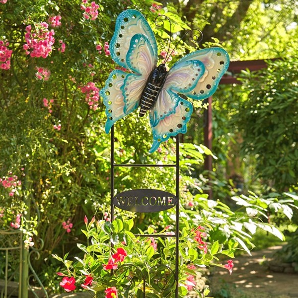 "Large Butterfly ""Welcome"" Garden Stake in Blue and Cream"