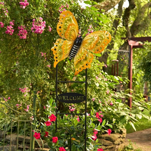 "Large Butterfly ""Welcome"" Garden Stake in Lemon Yellow"