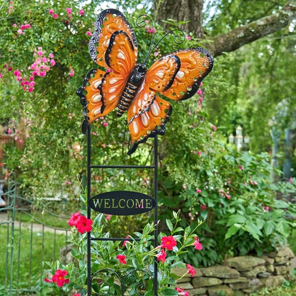 "Large Butterfly ""Welcome"" Garden Stake in Red and Black with White Dots"