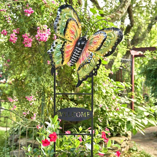 "Large Butterfly ""Welcome"" Garden Stake in Green, Yellow, and Pink"