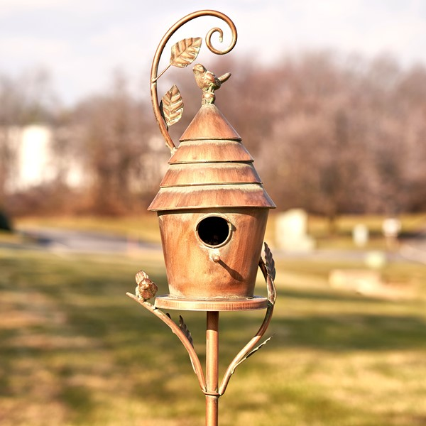 "Antique Copper Saran Birdhouse Stake ""Mary"""