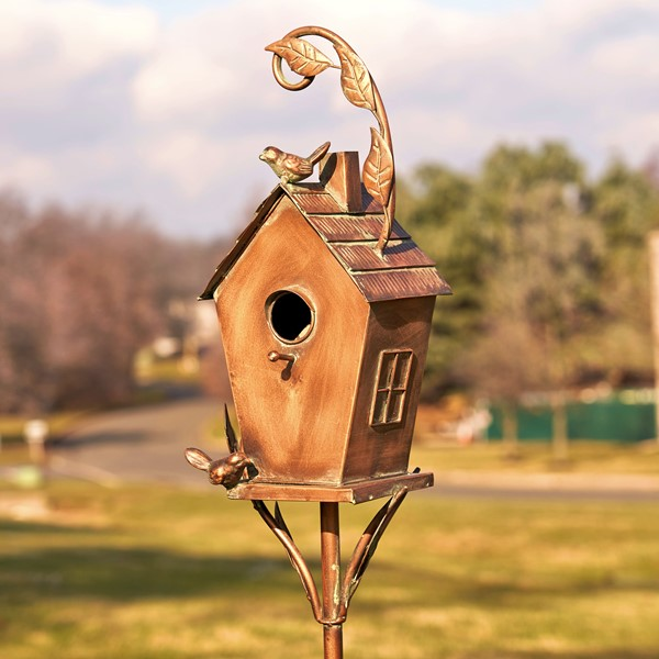 "Antique Copper Saran Birdhouse Stake ""Holly"""