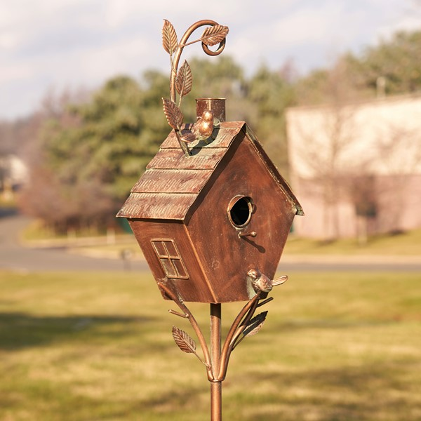 "Antique Copper Saran Birdhouse Stake ""Sherry"""