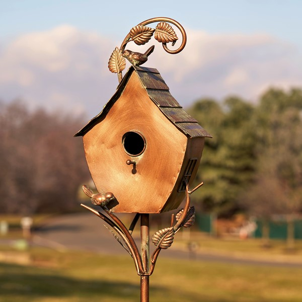 "Antique Copper Saran Birdhouse Stake ""Sheila"""