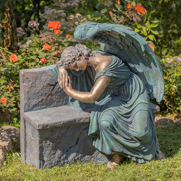 "35"" Tall Magnesium Napping Angel On Bench ""Seraphina"""