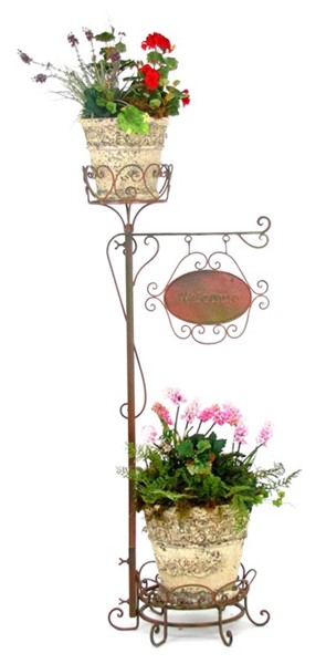 "45"" Two Pot Plant Stand with Welcome Sign in Antique Copper"