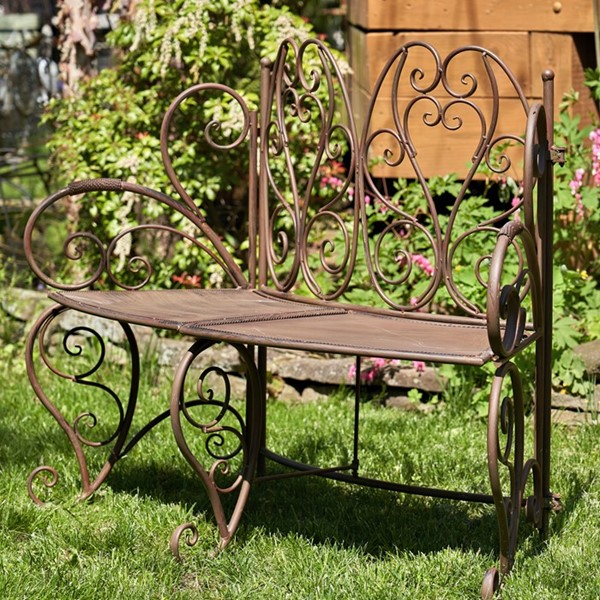"""Galina"" Folding Curved Garden Bench in Antique Rust"