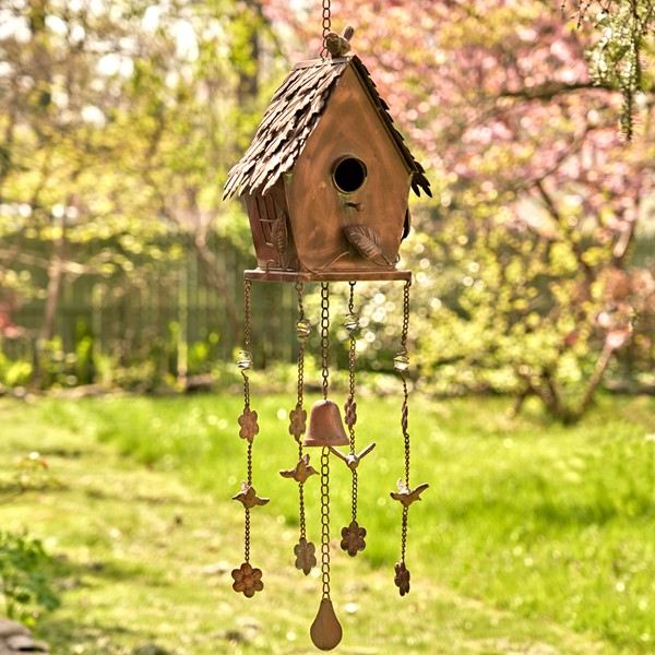 "Antique Copper Hanging Birdhouse Wind Chimes ""Cottage"""
