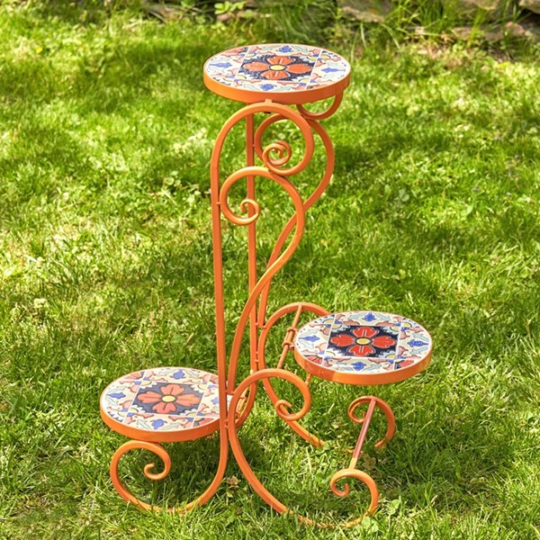 """Saint Petersburg"" Folding Iron Mosaic Plant Stand"