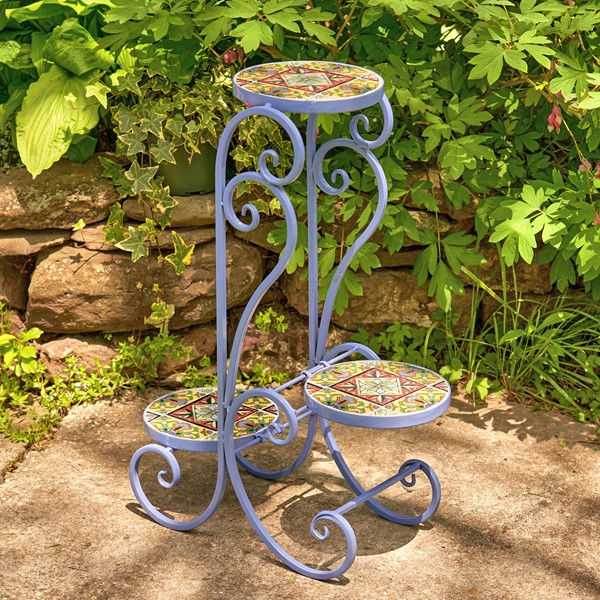 """New Orleans"" Folding Iron Mosaic Plant Stand"