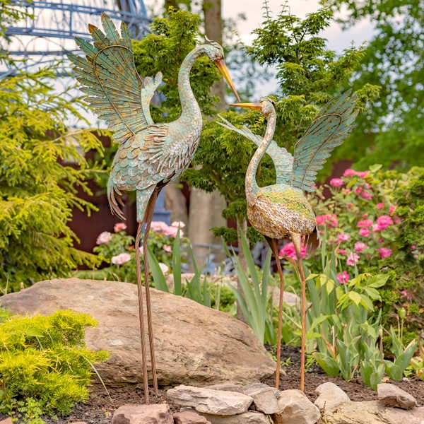 "Set of 2 55"" Tall Grey Iron Herons"