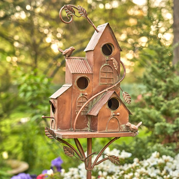 "Iron Four Home Bungalow Copper Color Birdhouse Stake ""New Hope"""
