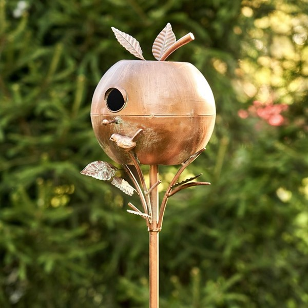 Apple Shaped Copper Color Birdhouse Stake