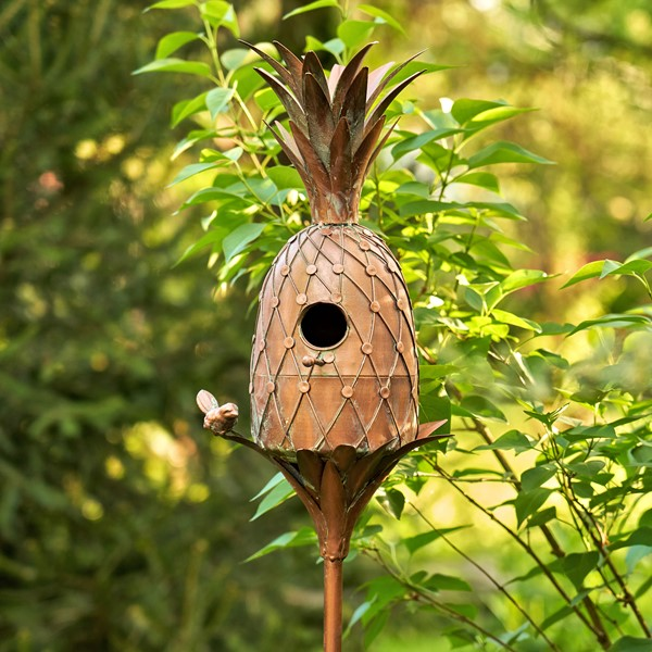 Pineapple Shaped Copper Color Birdhouse Stake