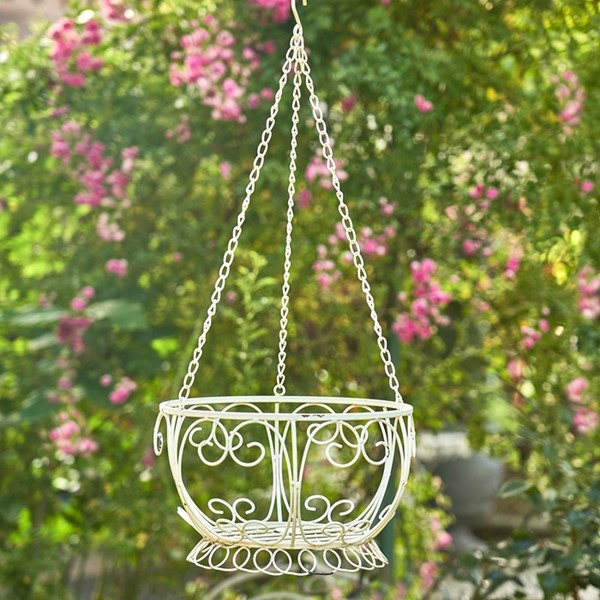 Iron Hanging Basket Planter in Antique White