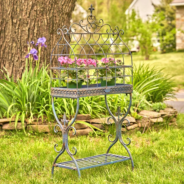 "Vintage Style Iron Cage Plant Stand ""Paris 1968"" in Antique Blue"