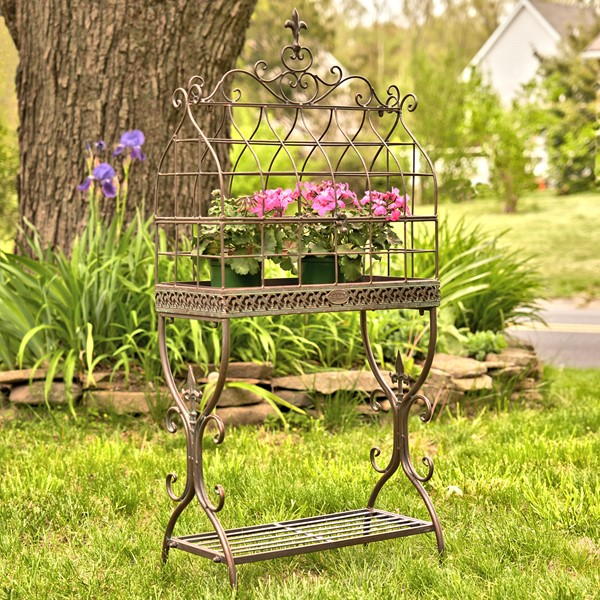 "Vintage Style Iron Cage Plant Stand ""Paris 1968"" in Bronze"