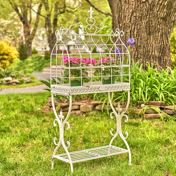 "Vintage Style Iron Cage Plant Stand ""Paris 1968"" in Antique White"