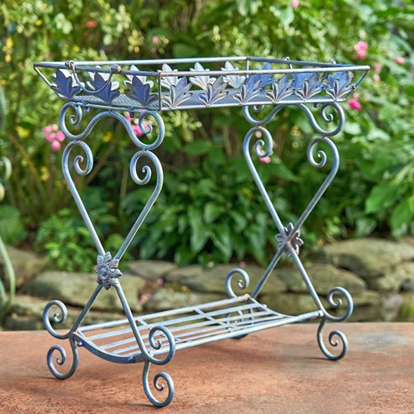 "Two Tier Rectangular Plant Stand in Antique Blue ""Gretchen"""