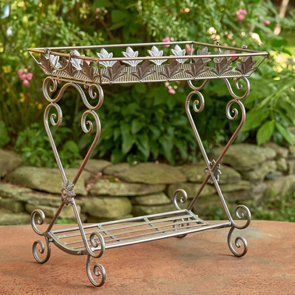 "Two Tier Rectangular Plant Stand in Bronze ""Gretchen"""