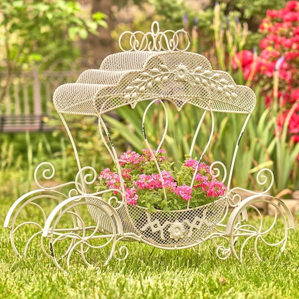 "Victorian Iron Cinderella Carriage Flower Stand in Antique White ""Luciana"""
