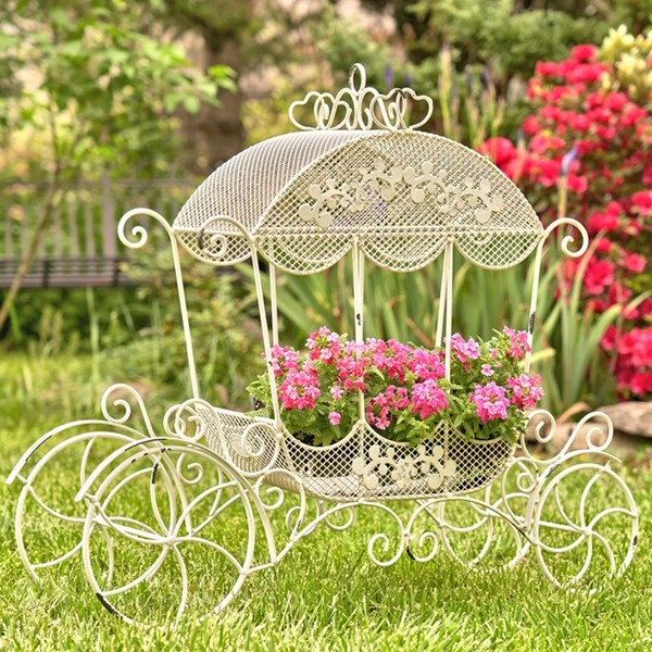 "Victorian Iron Cinderella Carriage Flower Stand in Antique White ""Stephania"""