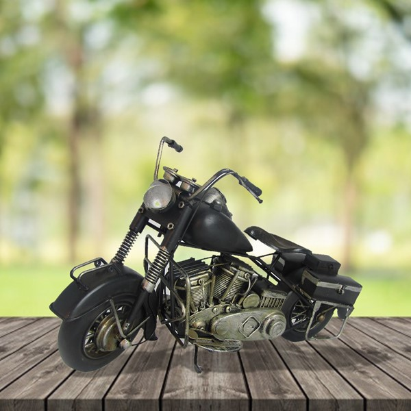 Metal Motorcycle Figurine in Black