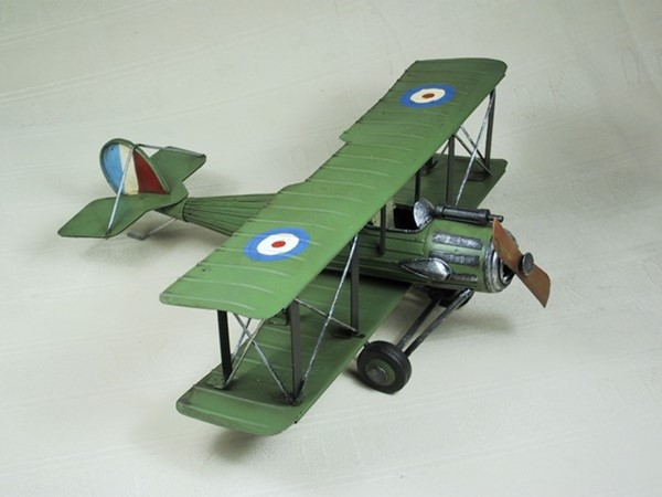WWI Inspired Metal Model Airplane in Army Green