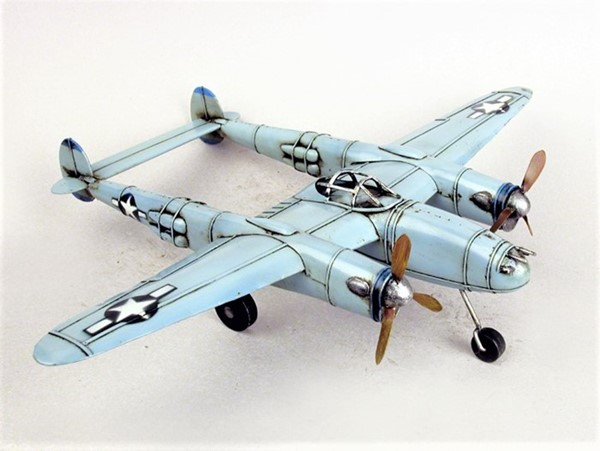 WWII Inspired Model Twin Boom Aircraft in Light Blue