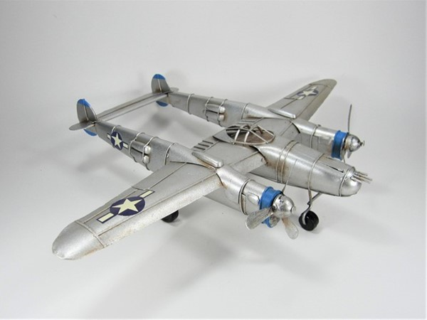 WWII Inspired Model Twin Boom Aircraft in Silver