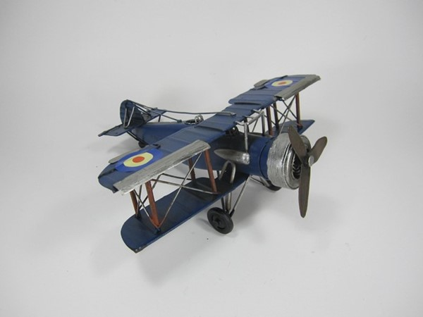 Small Metal Model Biplane in Navy Blue